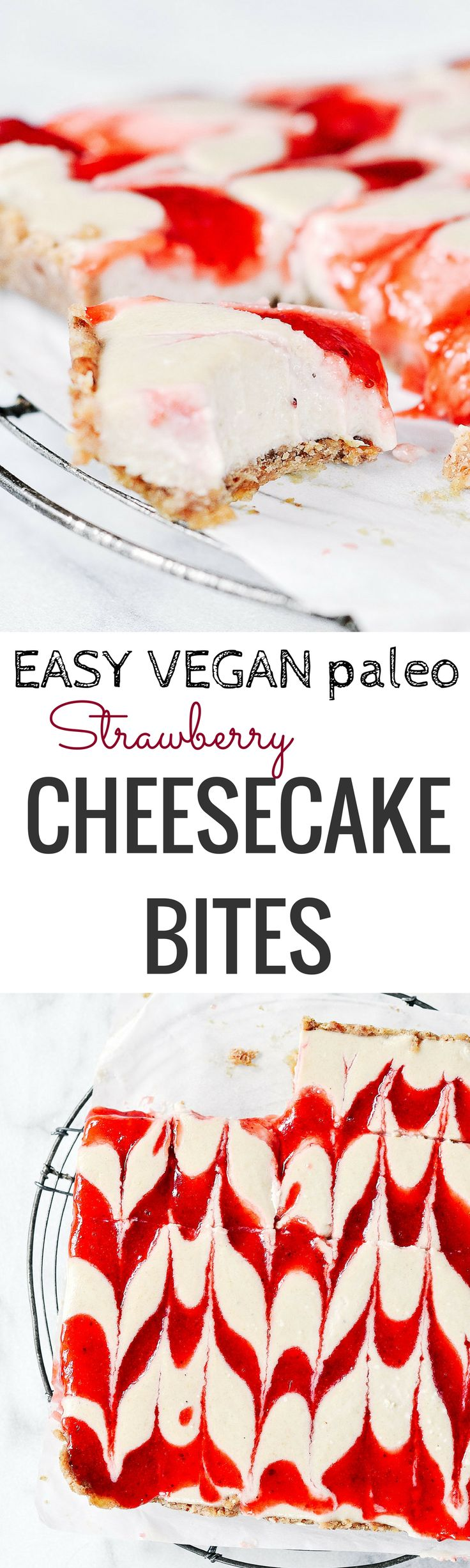 Easy Vegan Strawberry Cheesecake Bites. Raw paleo cheesecake recipe. 5 Ingredients. No bake cashew cheesecake. Best gluten free vegan cheesecake. Raw paleo cheesecake recipe. No bake strawberry cheesecake recipe.
