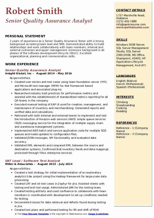 Entry Level Qa Resume Lovely Senior Quality Assurance Analyst Resume Samples