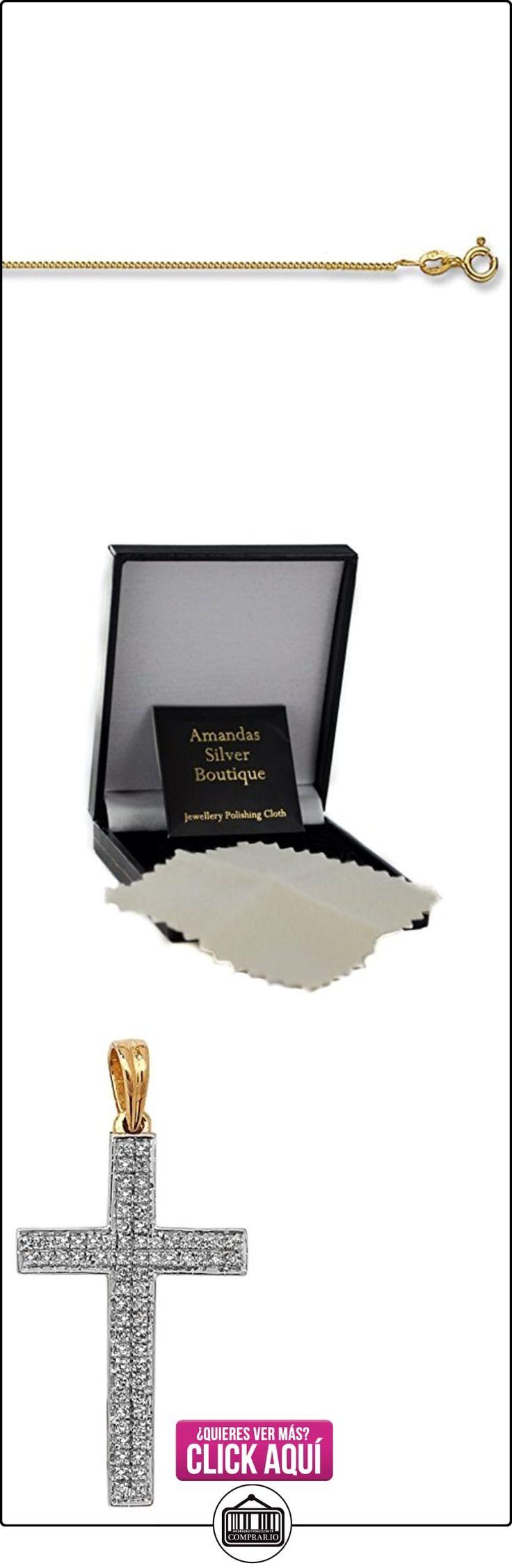 Hombre 9ct oro conjunto colgante de cruz de diamantes parapavimentar 0.26ct sobre la acera de collar  ✿ Joyas para hombres especiales - lujo ✿ ▬► Ver oferta: https://comprar.io/goto/B00KUCEK9U