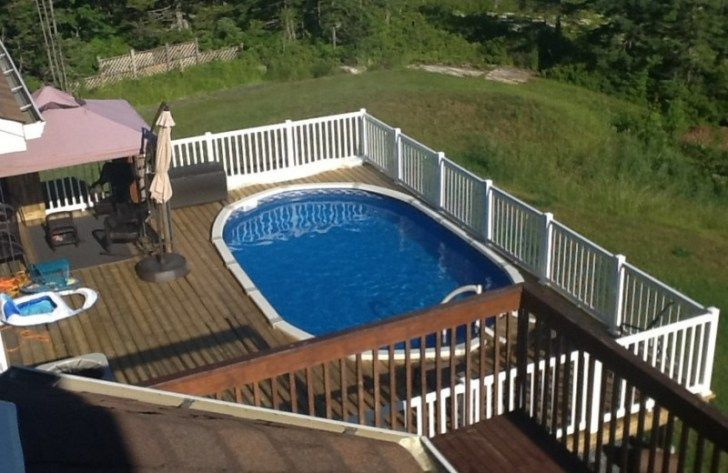 40 Uniquely Awesome Above Ground Pools With Decks Pool Deck Plans Backyard Pool Landscaping Above Ground Pool Landscaping