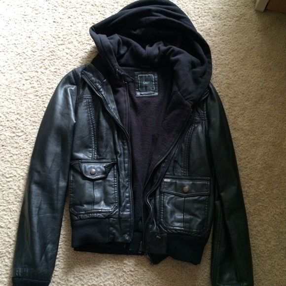 OBEY black leather jacket with hood Please use offer button to make an offer Obey Jackets & Coats