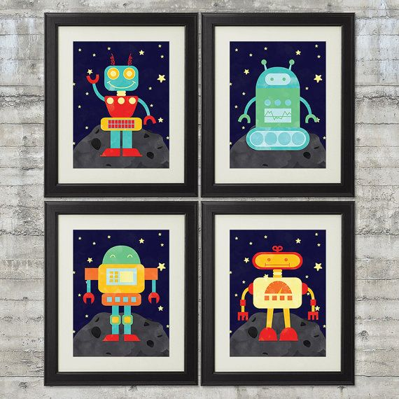 Robot Nursery Art Robots in Outer Space by PrintsAndPrintables
