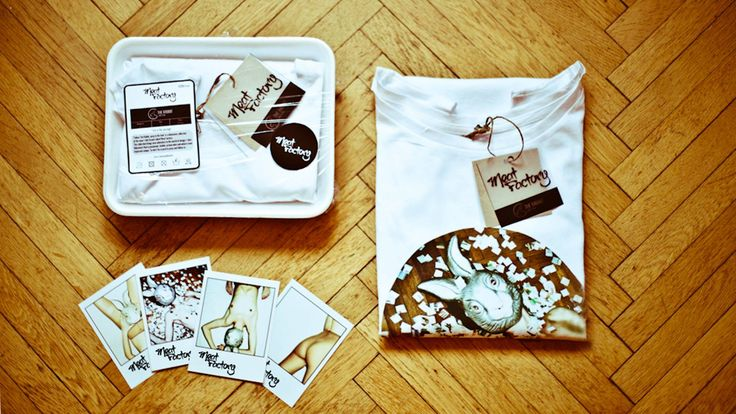 Get your t-shirt in the awesome packaging designed by Meat Factory Clothing.