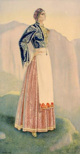 NICOLAS SPERLING Woman's Town Dress (Crete, Sfakia) 1930  lithograph on paper after original watercolour (37x20)