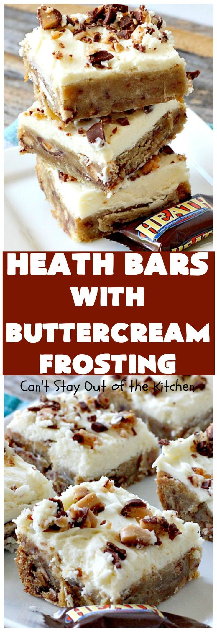 Heath Bars with Buttercream Frosting | Can't Stay Out of the Kitchen | these bar-type #cookies are divine! Amazing icing makes them spectacular. Uses #HeathCandyBars. #chocolate #dessert