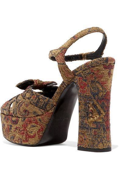 Saint Laurent - Candy Brocade Sandals - Brown - IT