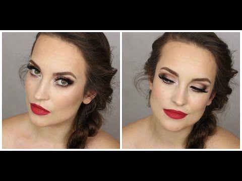 Full Glamour evening make up - wieczorowy makijaż czerwone usta, sztuczne rzęsy - YouTube