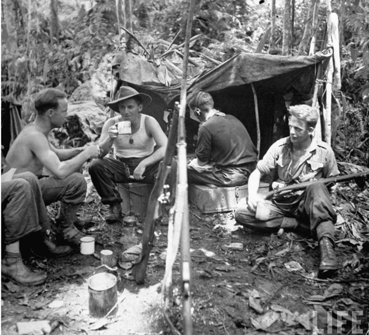 Australian Army jungle outpost. Lae, New Guinea. September 1943