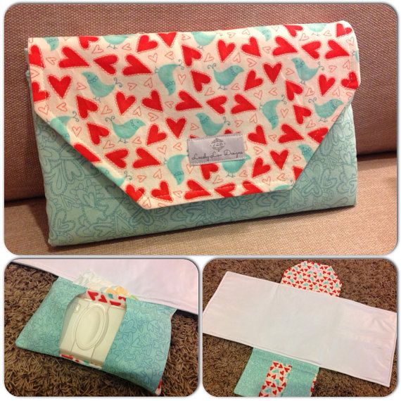 Nappy change mat clutch holds wipes and 2 to 3 by LeashyLouDesigns, $65.00