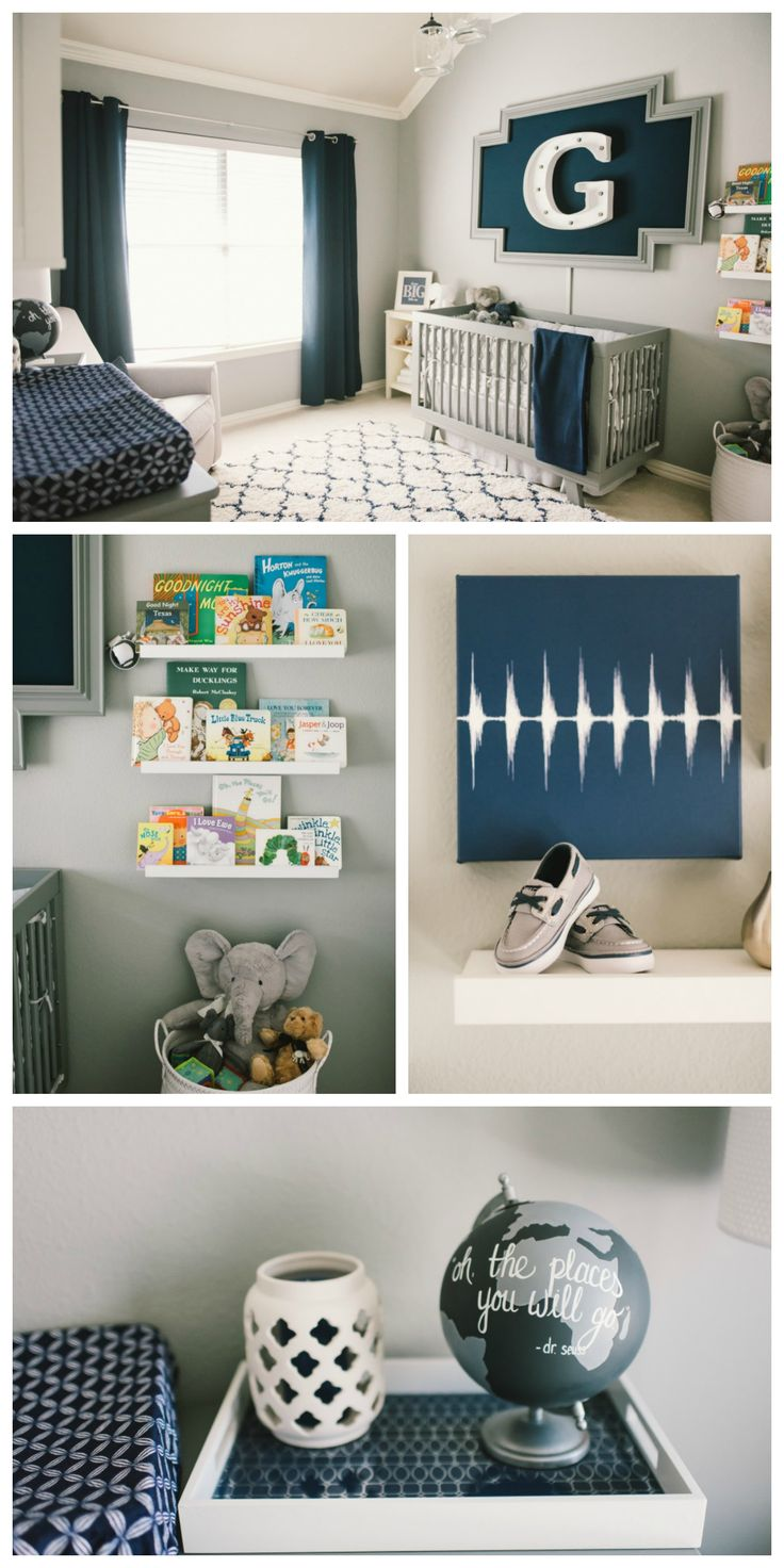 Modern Gray and Navy Baby Boy Nursery - how fantastic is that marquee light framed over the crib? Love.