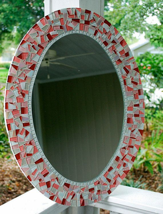 Pink Mosaic Mirror Oval by GreenStreetMosaics on Etsy