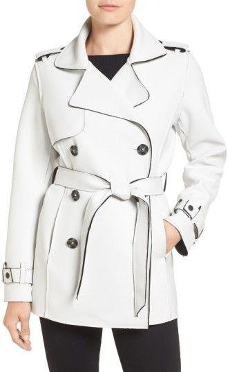 Kristen Blake Women's Raw Edge Short Trench Coat