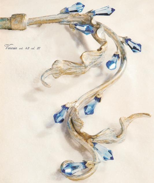 Bastone per tende in ferro battuto a mano modello VENEZIA con applicazione di strass colorati