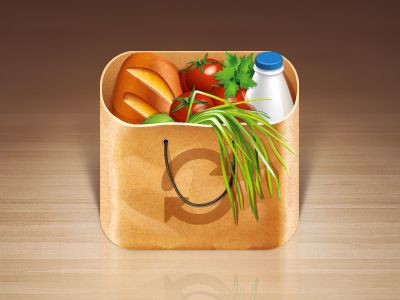 Grocery Bag Mobile App Icon by Alexander Lukyanov. 25 Clever Mobile App Icons. #mobile #icons #design #inspiration