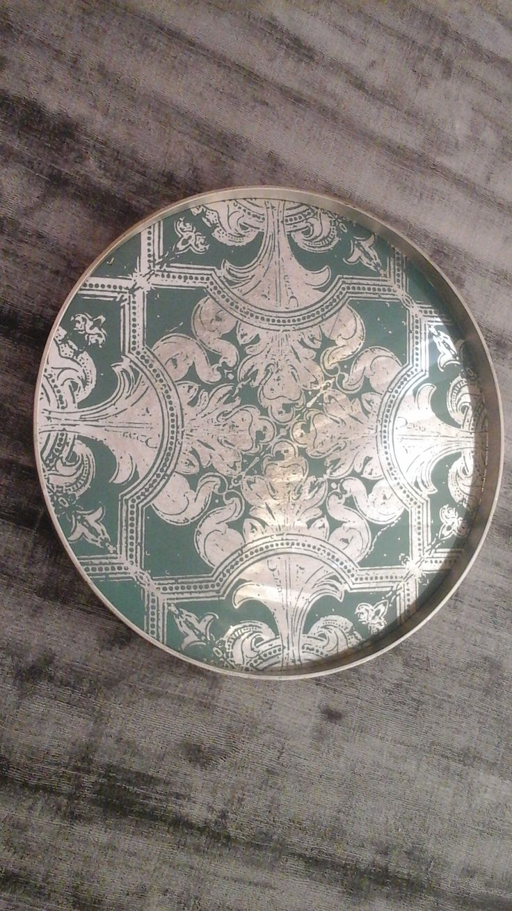 Dècor tray By Notre Monde wood and glass Diameter cm. 61 Wood: color silver Glass: color turquoise Price: € 150.00 #decor #tray #dish #furnishing
