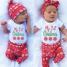 Baby Boys Girls Clothes Set Romper and Leggings and Hat 3PCS Set Infant Christmas Outfits For Girls(China (Mainland))