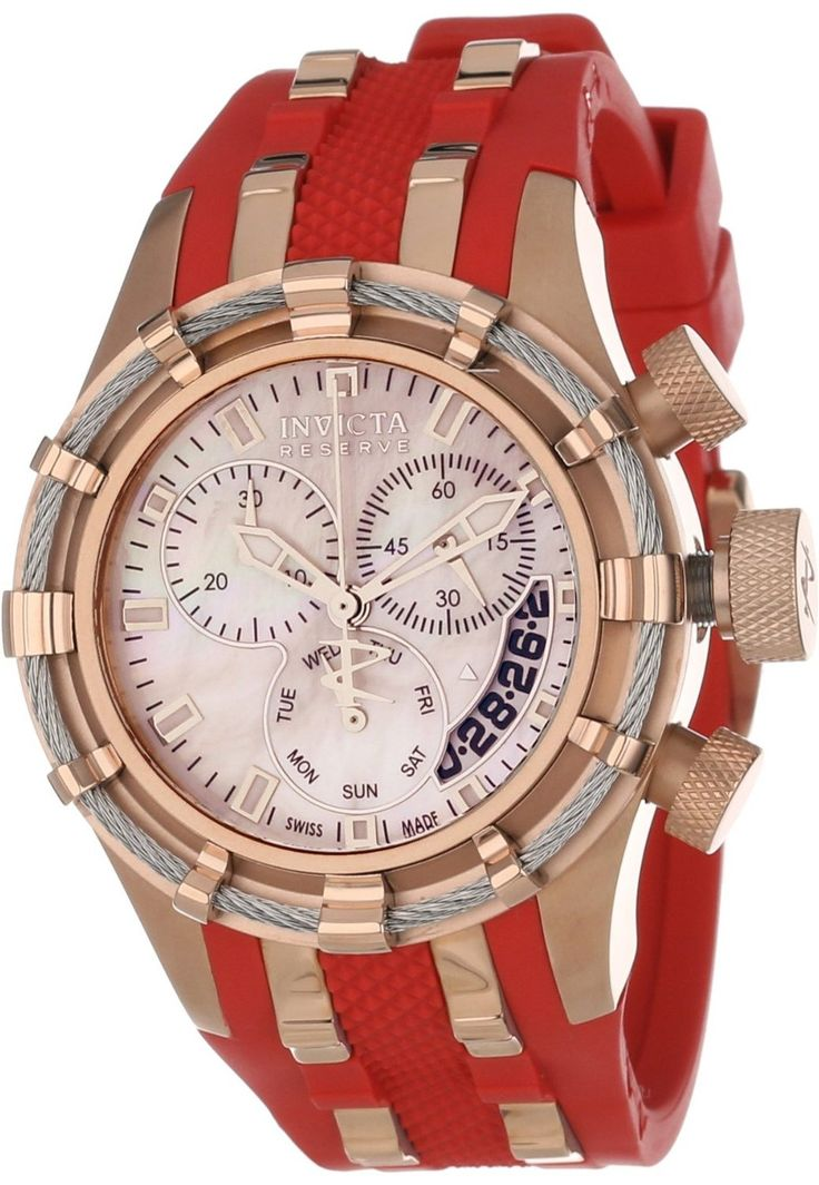 #Invicta #Watch, Invicta Women's 6952 Reserve Collection Bolt Chronograph Red Polyurethane Watch