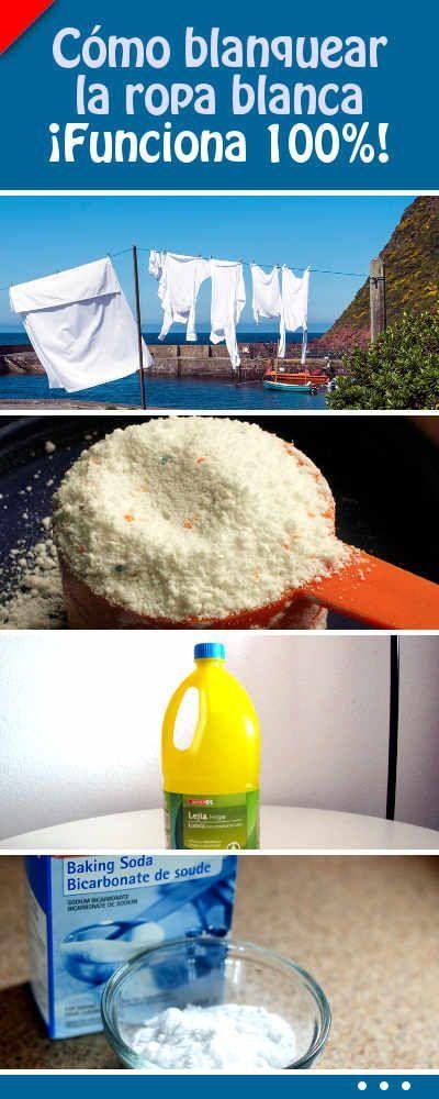 Cómo blanquear la ropa blanca. ¡Funciona 100%! #blanquear #ropa #lavar #lavadora #consejos