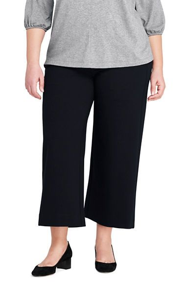 7872fcc267e3f Women s Plus Size Mid Rise Ponte Wide Leg Crop Pants