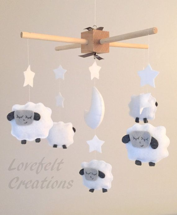 Baby Crib Mobile - Sheep Mobile - Lamb Mobile - Yellow and Gray Mobile
