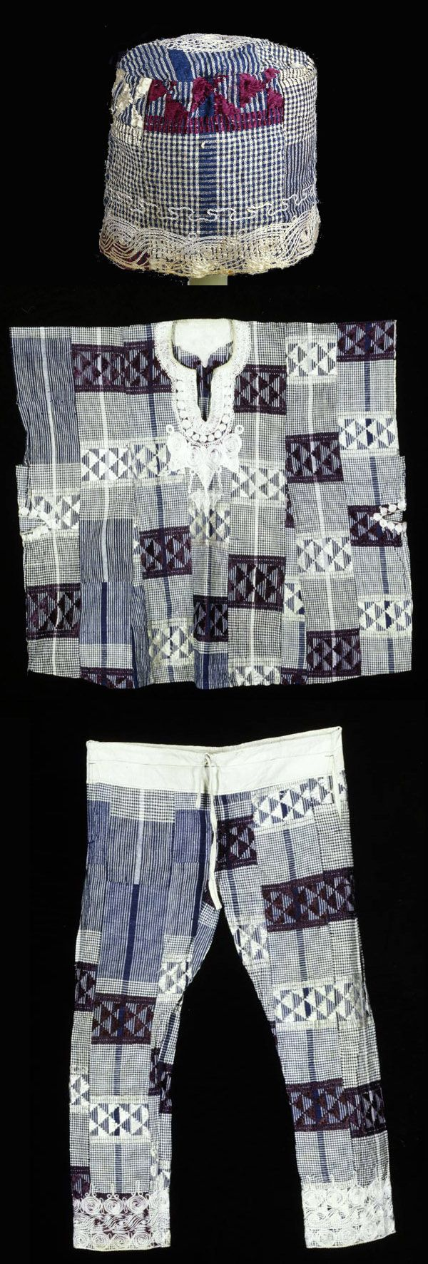 Africa | Three-piece ensemble was a festive outfit of a Yoruba man from Nigeria | blue and white cotton strip-woven cloth, which has been sewn together to create a large fabric. The white rayon or silk embroidery, which decorates the hem of the pants and hat, and the hem and neckline of the tunic, is characteristic of Nigerian clothing. The checkered pattern of the fabric, however, is exceptional, and striking to onlookers. | The hat has been magnified to show the detail.