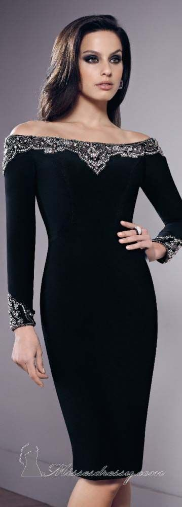Matte Jersey Long Sleeve Dress by Mori Lee VM. Nice Holiday dress option