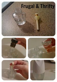 Filled my air wick with essential Peppermint oil and water. Chose this scent for 2 reasons 1. I woke up to a huge throbbing  spider bite on my cheek this morning and found out peppermint oil repels spiders. 2. Dug a little deeper and peppermint oil also repels other insects, Mosquitos and mice. Score. Let's see if this actually works. Do It Yourself ~ Airwick Plugin Refill