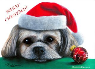 Miss December, pastel painting  - Carole Rodrigue, Fine Artist Specializing in Pet Portraits   #dogs  #dogpaintings #dogwithsantahat #petportraits #petpaintings #dogart #dogartists #realisticdogpaintings #petportraitartists #canines #christmas #christmasart #santahat #christmasornament