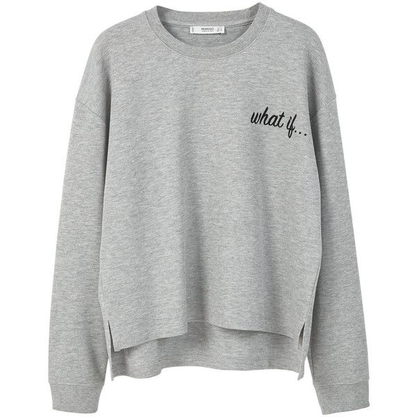 Message Cotton Sweatshirt found on Polyvore featuring tops, hoodies, sweatshirts, sweaters, shirts, long sleeve cotton tops, round top, long sleeve sweatshirt, long sleeve tops and mango tops