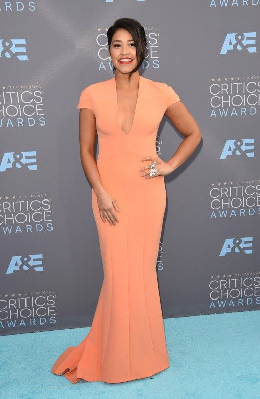 Gina Rodriguez looking peachy in SAFiYAA gown