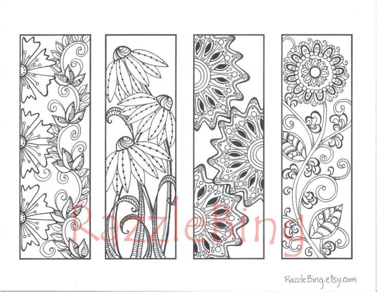 DIY Bookmark Printable Coloring PageZentangle by RazzleBing, $2.70
