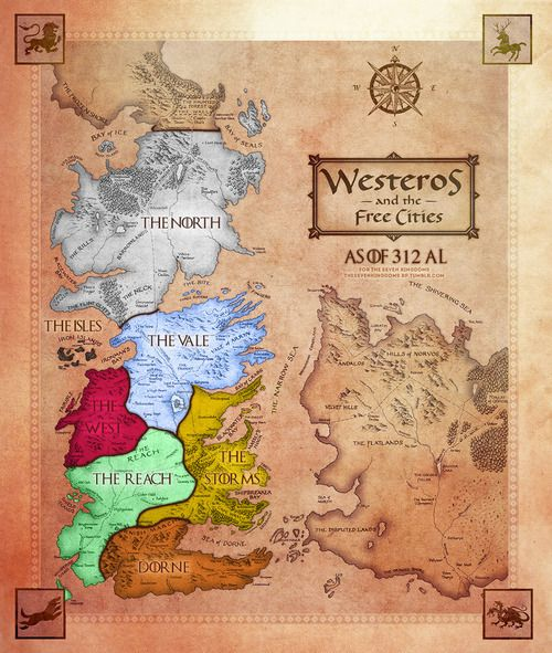 photo regarding Printable Map of Westeros referred to as Video game of thrones map print