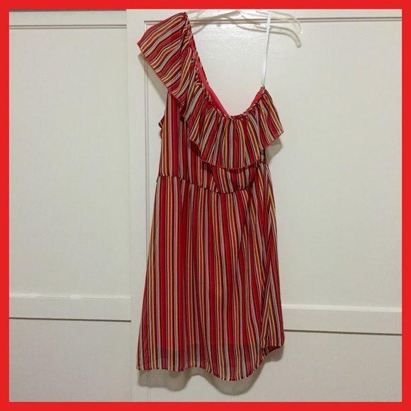 Multi color dress Beautiful Multi color dress. Left side off the shoulder. Length, above the knee. B. Smart Dresses