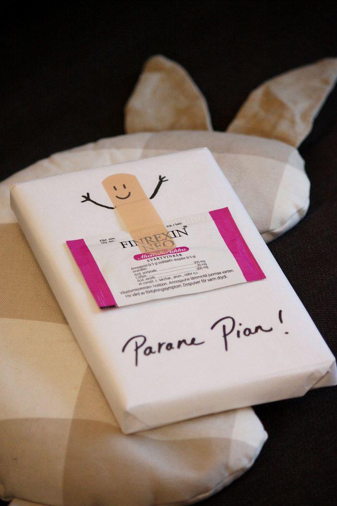 A get well soon gift. / Parane pian -paketti flunssapotilaalle