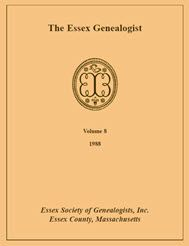 The Essex Genealogist, Volume 8, 1988 - Essex Society of Genealogists, Inc. . This series collects the quarterly journals of the Essex Society of Genealogists into convenient yearly volumes. Essex County, Massachusetts, is a region of genealogical interest to many people across the country, and the Society's journal has been an important source of information for its subscribers since it was founded in 1981. Each volume contains articles related to Essex County or to genealogical research in…