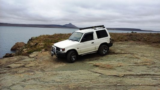 Ziyaad Yasseen Khan in his 1998 Mitsubishi Pajero in Drakensberg