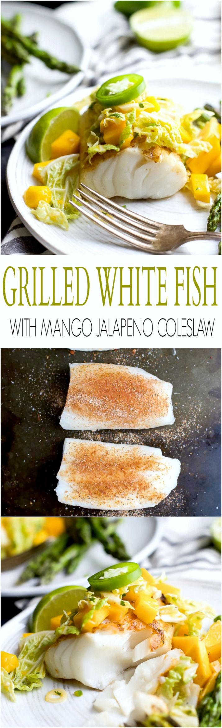 Grilled White Fish topped with a refreshing Mango Jalapeno Coleslaw that will blow more than your socks off! Incredible flavor, minimal ingredients with less than 20 minutes to prepare! | joyfulhealthyeats.com #paleo #glutenfree