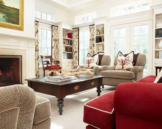Traditional Red Couch Design, Pictures, Remodel, Decor and Ideas - page 2