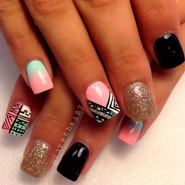 Best 25 aztec nails ideas on pinterest next trends love love aztec nail art design prinsesfo Images