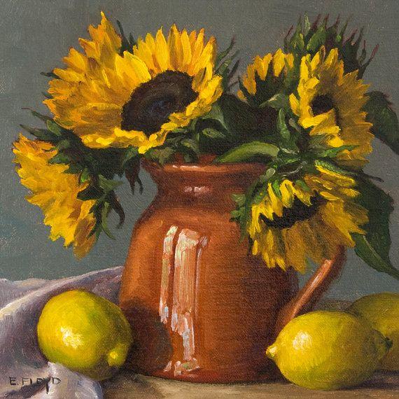 Tournesols et citrons nature morte peinture - art giclée par Elizabeth Floyd