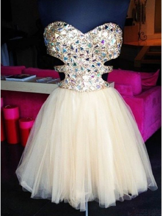 Stunning A-line Sparkle Short Beige Tulle Prom Dresses,