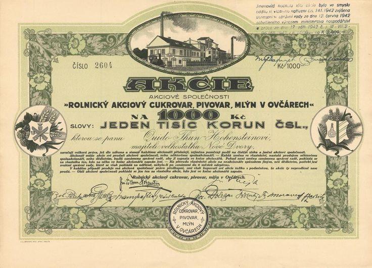 Rolnický akc. cukrovar, pivovar a mlýn v Ovčárech (Landwirtschaftliche Aktien-Zuckerfabrik, -Brauerei und -Mühle in Ovcary). Akcie na 1 000 Kč. Ovčáry (bez data).