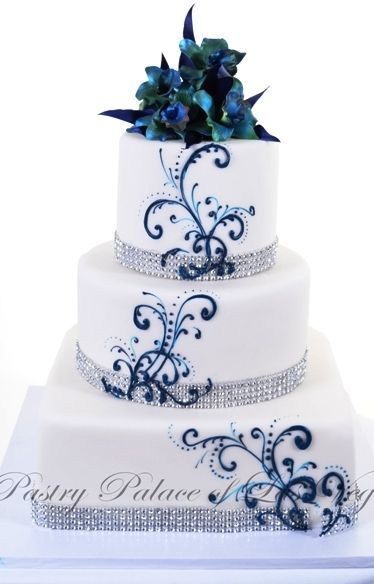 Pastry Palace Las Vegas - Wedding Cake #1096 %u2013 Simply Shiny & Teal