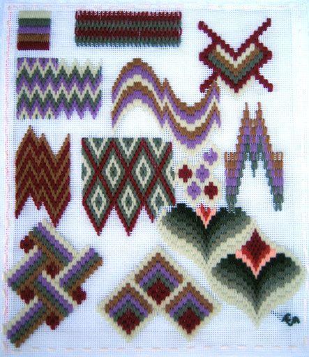 Qu'est ce que c'est? Le fourre-tout de Anne nous explique parfaitement ce genre de broderie . Voici des modèles gratuits pour essayer : Bargello Needlepoint Pattern-making.com