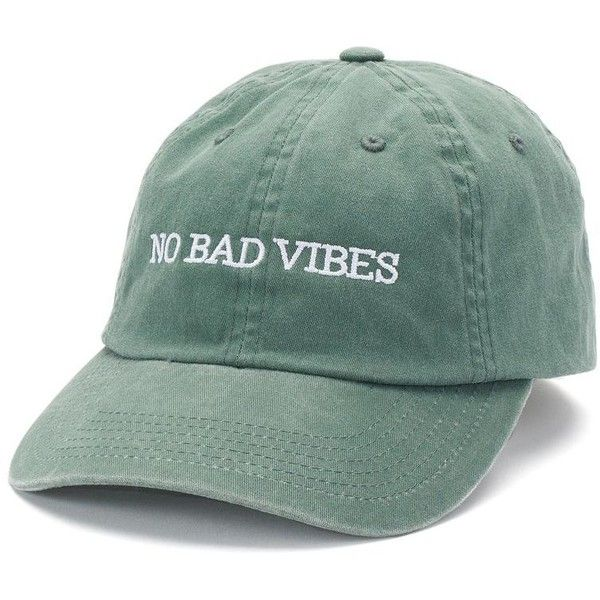 """madden NYC Women's """"No Bad Vibes"""" Twill Baseball Cap ($21) ❤ liked on Polyvore featuring accessories, hats, med green, ball cap hats, brimmed hat, embroidered hats, embroidered baseball hats and adjustable hats"""