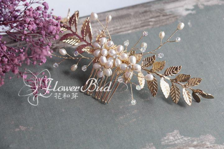 Европейские и американские ручной натуральный жемчуг белые цветы золотой лист…