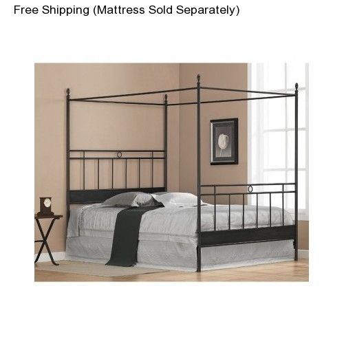 Four Poster Bed Frame Full Size Canopy Metal Black Bedroom Furniture Headboard  #Furniture #Transitional