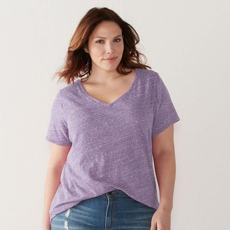 Plus Size SONOMA Goods for Life™ Essential V-Neck Tee, Women's, Size: 1XL, Med Purple