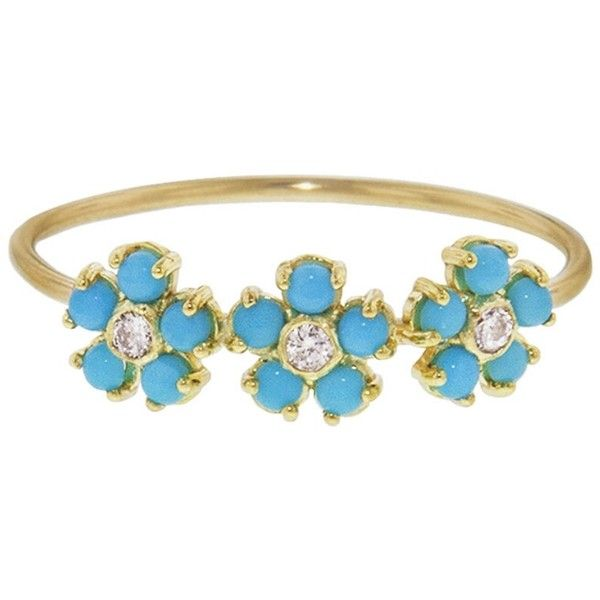 Jennifer Meyer Turquoise and Diamond Flower Trio Ring ($1,050) ❤ liked on Polyvore featuring jewelry, rings, turquoise, thin diamond ring, thin rings, turquoise stacking ring, flower diamond ring and diamond rings