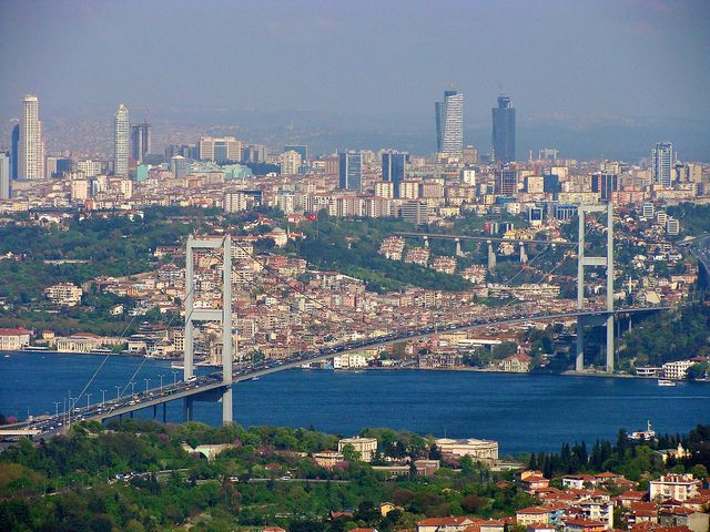View from Camlica hill in Istanbul, Turkey
